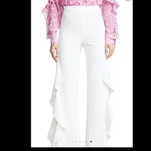 Alice + olivia Estelle white ruffle pants